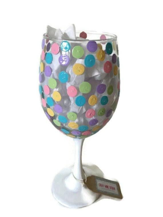 Easter Wine Glass Pastel Spring Polka Dot Wine Glass Adult