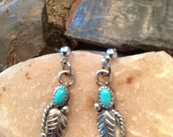 Navajo silver and turquoise earrings