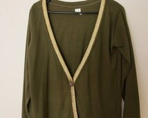 Vintage 1990s Khaki Green Knit Cardigan with Metallic Gold Trim Detailing Sweater Jumper Jersey Pullover