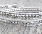 Leather and Silver Bracelet - White Leather Bracelet for Women - Double Wrap Leather Bracelet - Silver Beaded Bracelet Wrap - Beaded Jewelry