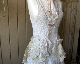 Lace Crochet Vest Top, Boho Romantic, Vintage Doilies Laces, Handmade Original Shabby Top, Repurposed, Cottage Chic Tie Dyed SZ Small/Med