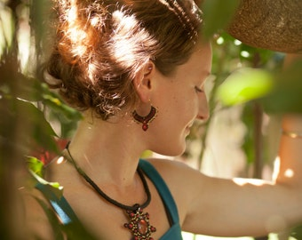 Brown or Black and Red Indian Style Micro Macrame Hoop Earrings with Red Coral and Brass Copper Beads