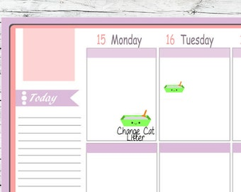 Choice Itty Bitty or ECLP Kawaii Clean/ Change Cat Litter Box To Use With Erin Condren Planner