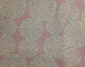 White Flowers on Pink Background, Pink Starburst, 100% Cotton