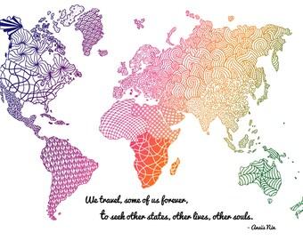 Zentangle world map etsy world map wall art colorful world map print hand drawn map wanderlust gift gumiabroncs Choice Image