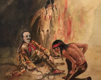 Old West Gambling Watercolor Painting - Native American and Cowboy Playing Cards - Signed H.L. Kerr - Dated 1904 - Western