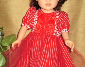 """18"""" Red doll dress, red doll party dress, short sleeve doll outfit, red floral and stripe doll dress"""