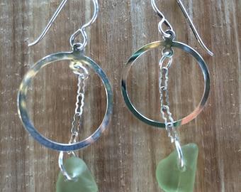 Sterling Silver Sea Foam Green Sea Glass Earrings