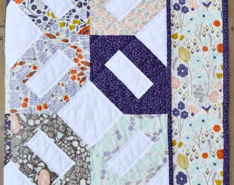 Modern Floral Baby Girl Quilt - Morning Song