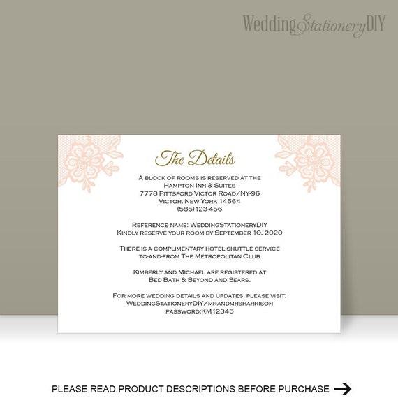 Printable Insert Cards Wedding Information Card Reception