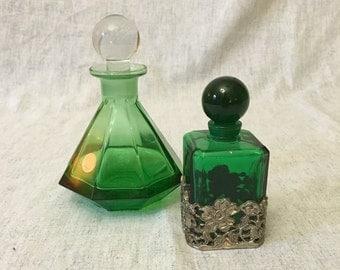 Vintage Emerald Green Perfume Bottles, Set of 2, Green Bottle with Pewter Base
