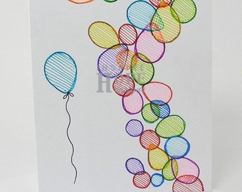 Balloons Sketch Note Card