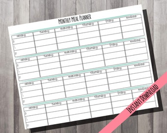 Monthly Meal Planner // Organization // Planner // Family