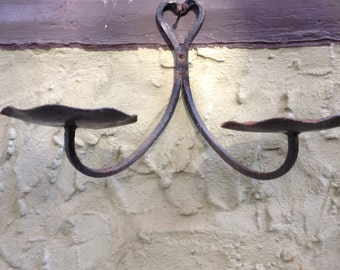 Vintage Wrought Iron 2-Armed Hanging Planter
