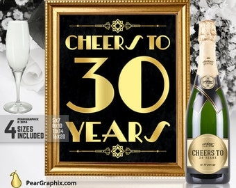 Cheers To 30 Years Printable Sign, 30th Birthday Party Decor Roaring 20s Great Gatsby Party Supplies, Art Deco Black Gold ▷ Instant Download