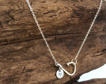 BEST SELLING Jewelry Fish Hook Necklace Fishing Hook Necklace Fishing Jewelry Fish Hook Jewelry Initial Fishing Necklace Christian Jewelry
