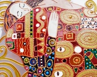 Gustav Klimt enspiration Tree of life art Fragment Glass painting