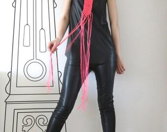 FREE SHIPPING / Handmade Neon Pink Necklace /  Macrame / Stylish Necklace / Gift Idea by FabraModaStudio / A919