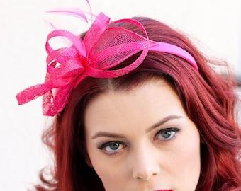 Pink Fascinator, Womens Tea Party Hat, Church Hat, Derby Hat, Fancy Hat, Pink Hat, Tea Party Hat, wedding hat, British Hat