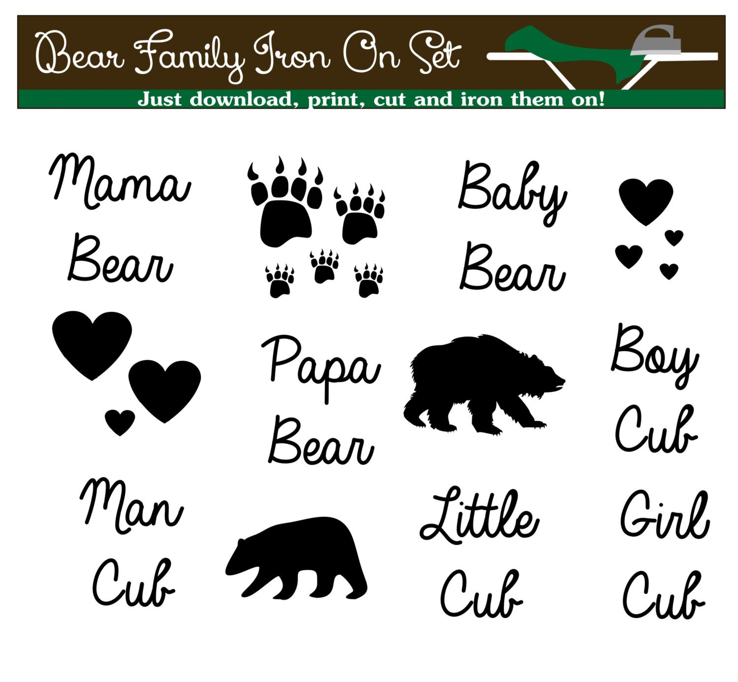 Mama Bear Tshirt Iron On Transfers Instant Download