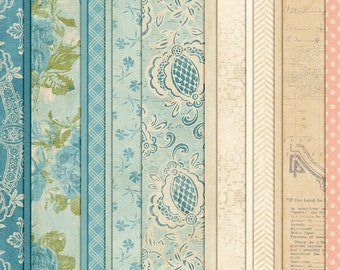 Happy Little Bluebird - Vintage Spring Digital Papers - 12 x 12 - Scrapbooking Pack - Perfect for Easter crafts or Heritage pages!