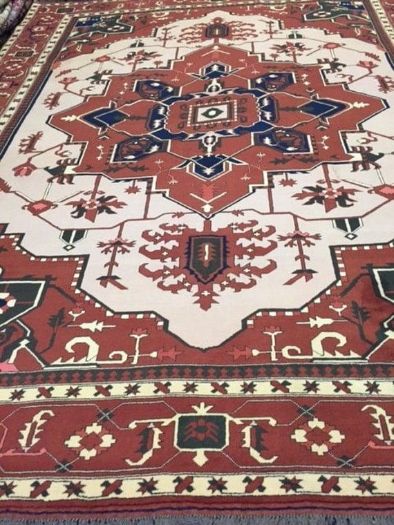 "8'8"" x 11'3"" Pakistani Heriz Design Oriental Rug - Hand Made - Very Fine - 100% Wool"