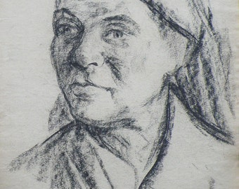 VINTAGE FEMALE PORTRAIT Drawing Original Charcoal Drawing by Ukrainian Artist V. Sandyuk 1990s, Signed, Ukrainian Fine Art