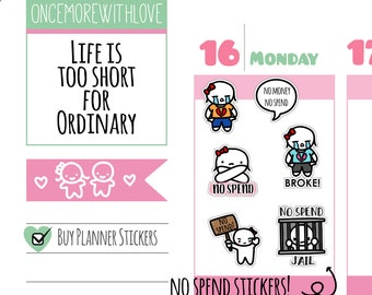 Munchkins - No Spend and I'm Broke Planner Stickers (M184)