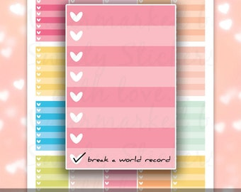 Happy Planner Full Box Stickers // Mambi Planner Stickers / Printable Happy Planner Stickers / Heart Checklist, Instant Digital Download PDF