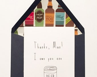 Thank You Card, Manly Thank You Card, Thank You Card for Guys, Beer Thank You Card