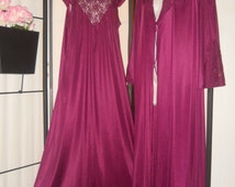 Vintage 1970s peignoir set; long robe and nightgown in deep plum purple; size Small; beautiful lace detail; boudoir photos; gift; pinup