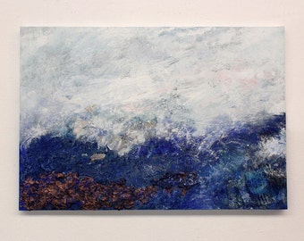 Landscape painting, original painting, blue wall art, abstract painting, wall hanging, blue painting, textured painting