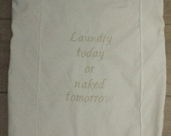 Laundry bag, embroidered, hamper