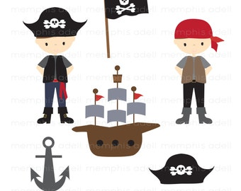Pirate Boys Digital Image Clip Art For Scrapbooking Invitations And More