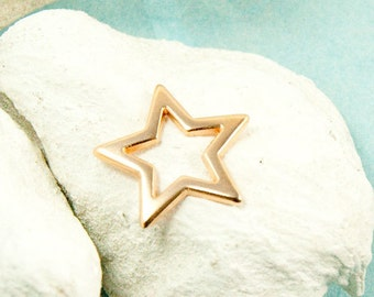 2x star Pendant 18mm rose gold plated connector #3607