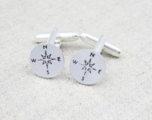 Compass cuff links, compass cufflinks, nautical gift, gift for him, hand stamped, nautical cufflinks, gift for sailor, travel theme gift
