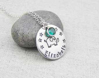 Personalized elephant necklace, swarovski crystal birthstone, hand stamped, gift for her, birthstone jewelry, elephant jewelry