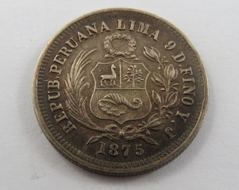 Peru 1875YJ Silver One-Fifth Sol Silver Coin.