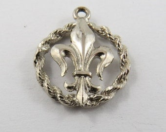 French Fleur De Lis Symbol Sterling Silver Charm of Pendant.