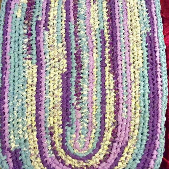 Purple Turquoise Rag Rug: Turquoise Blue Purple And White Toothbrush By RugsOnTheRoad