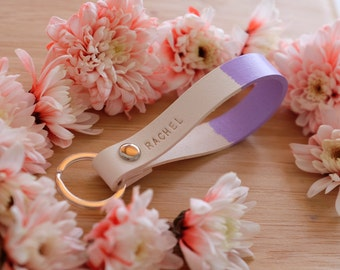 Personalized Keychain Gift, Custom Leather Keychains, Handpainted Lilac - Purple Key Fob  in White, Gift for Girl, Handstamped Name Initial
