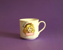Vintage Barbie Mattel Children's Mug - Retro 1983 Collectable Rainbow Barbie Doll Ken Mug