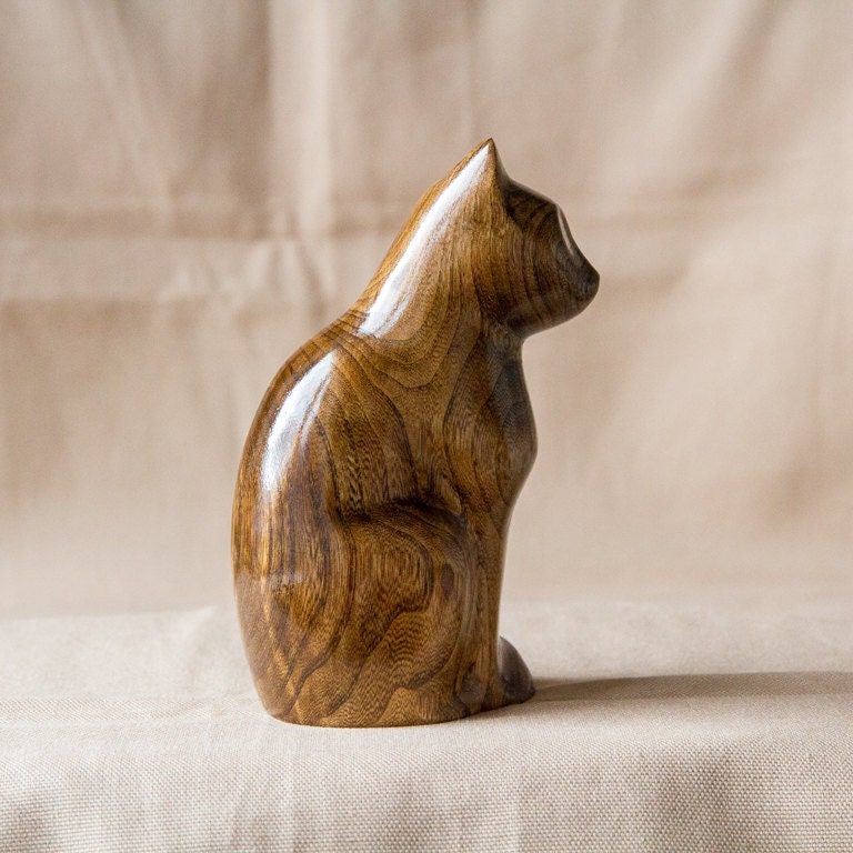 Wooden cat statue figurine wood carving hand