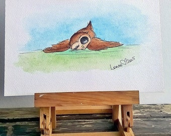 Owl Original Watercolour Painting, Cute Owl illustration, Woodland Creature artwork, Whimsical Owl Painting, Nursery Room Art,