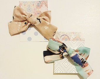 2 SET Fabric Bow hair ties/ elastics band.