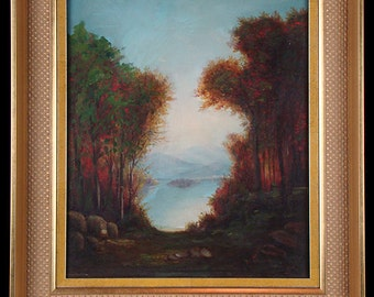 Early 20th century landscape oil painting, small, lake water mountain trees scene, gilt gilded wood frame