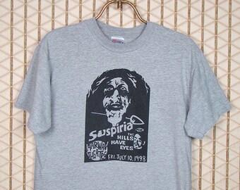 Suspiria, vintage & rare horror movie T-shirt from the legendary Harwan Theater,  Dario Argento heather gray tee shirt, Giallo