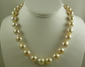 South Sea Light Golden Baroque Pearl Necklace 14k Yellow Gold Clasp