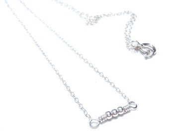 dainty necklace silver necklace minimalist necklace bead delicate necklace