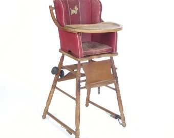 Antique high chair stroller baby potty convertible wooden red upholstered as is